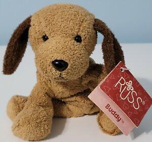 "Russ Luv Pets 4.5"" BUDDY Puppy Dog Plush Brown Buddy Soft Toy Stuffed NWT"