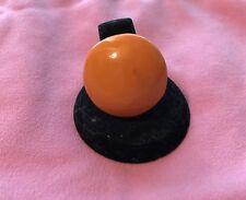 Vintage Round Orange Enamel Gold Tone Adjustable Size 7 Ladies Ring