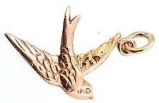 """9k """"Swallow"""" bird Charm_375 rose gold_hallmarked Birmingham 1973"""