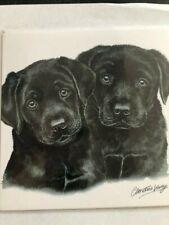 WAGGY DOGZ LABRADOR PUPPIES DOG PRINT CARD BLANK BY CHRISTINE VARLEY