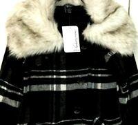 NEW WOMEN'S OAKLEY PLAID JACKET Wool Winter Coat Faux Fur Collar Size Small
