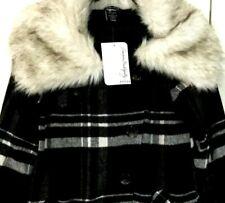New Women's OAKLEY WINTER JACKET Small Black Plaid Wool w/ Faux Fur Collar