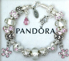Authentic Pandora Silver Charm Bracelet with Heart Love Pink European Charms