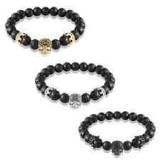 Fashion Charm Jewelry Black Gold Silver CZ Skull 8mm Beaded Bracelets Men Women