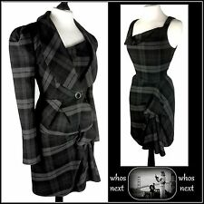 47 Next  12 14 tartan dress Suit tailored work checked womans ladies black grey