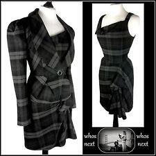 74 Next 8 tartan dress Suit tailored work checked womans ladies black grey