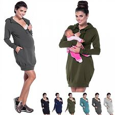 Zeta Ville - Women's Maternity Nursing Sweat Dress Hoodie - Long Sleeves - 901c