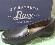 G H BASS & CO. Brown Leather Moccasin Style Slip On Loafer Shoe Size 8 M