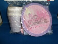 PRINCESS BIRTHDAY PARTY PACK SET 16 PLATES CUPS NAPKINS FORKS SETTINGS BRAND NEW