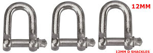3 X GALVANISED DEE D SHACKLES LINK CHAIN CONNECTOR TOWING LIFTING 12 MM