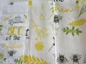 3 x 100% Cotton Tea Towels  Modern Design Queen Bee White, Lemons etc Great Fun