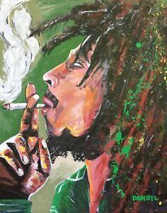 Original Bob Marley Reggae Art PAINTING Artist DAN BYL Celebrity Huge 4x5ft