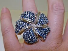 GENUINE 10.5tcw! African Sapphire Frangipani Flower Ring Sterling Silver 925