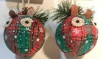 Christmas Tree Ornaments Hand Made Squirrel Pair Folk Art Americana Style New