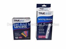 100 True Plus 33G Sterile Lancets + FREE True Draw Lancing Device FREE SHIPPING