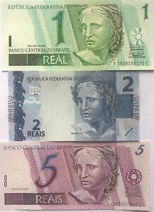 Brazil Set 3 Pcs Banknote 1997 - 2010 UNC Currency
