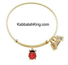 Wind & Fire 3D Ladybug Enamel Charm Gold Wire Stackable Bangle Bracelet Made USA