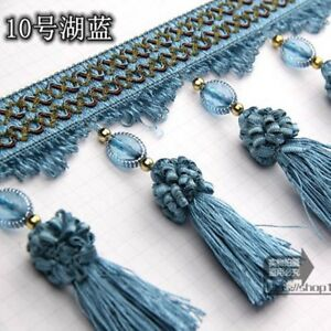 1M Curtian Tassel Floral Ball Crystal Bead Lace Trimming Ribbon Upholstery Decor