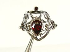 .60ctw Natural Pear Cut Garnet Victorian Deco Sterling 925 Filigree Ring s7 100a