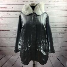 St.John Women Metallic Winter Coat Jacket Hood Faux Fur Silver Snow Size Medium