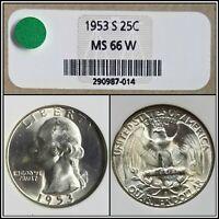 1953-S Silver 25c Washington Quarter NGC MS 66 W Gem Blast White BU Unc Coin