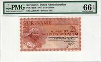 Suriname 1967 2 1/2 Gulden PMG Certified Banknote UNC 66 EPQ Gem Pick 117b