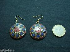 coppia orecchini nepalesi tibet ottone pietre dure corallo lapis bigiotteria