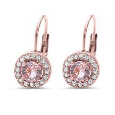 Rose Gold Plated Halo Morganite & Cz .925 Sterling Silver Drop Earring