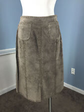 J Jill Brown Suede Skirt A Line Genuine Suede Leather EUC S 6 Career Cocktail