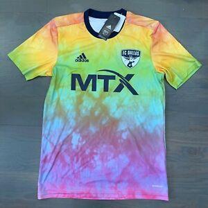 Adidas Men's FC Dallas MLS Pre-Match Shirt 2021 LGBT Pride Edition Jersey Size M