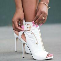 Women's Summer Open Toe Stilettos High Heels Slingbacks Ankle Boots Roman Summer