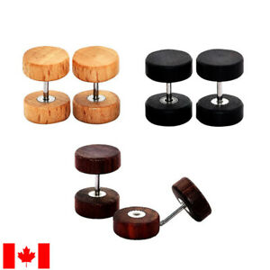 Pair retro natural wood barbell Ear stud Fake Plug Tunnel cheater Body piercing