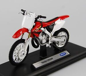 WELLY HONDA CR250R WHITE-RED 1:18 DIE CAST MODEL NEW IN BOX LICENSED MOTORCYCLE