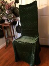 Waverly Classics Hunter GREEN VELVET ARMLESS DINING CHAIR COVERS 4 Fancy