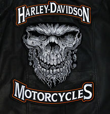 HARLEY 12 INCH TOP BOTTOM ROCKER WITH 11 INCH GIANT SKULL 3PC BACK PATCH