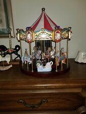 Vintage 1990 Large San Francisco Music Box Co Carousel Horses and Exotic Animals