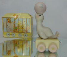 1985 Precious Moments  2 Year Old BIRTHDAY TRAIN Seal With Ball Figurine In Box!