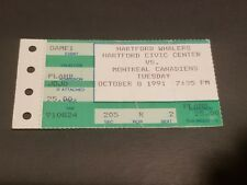 TICKET STUB HOCKEY HARTFORD WHALERS VS MONTREAL CANADIENS OCTOBER 8 1991 EXCELL