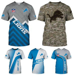 Detroit Lions Men's Summer Casual T Shirts Football Shirts Crew Neck Sports Tee