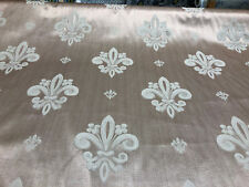 Fleur De Lis Tan Damask Jacquard Upholstery Fabric By the yard