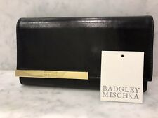 Badgley Mischka Black Leather Flap Clutch Wallet