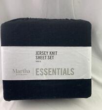 Martha Stewart Collection 3-Piece Twin Xl Black Jersey Knit Sheet Set