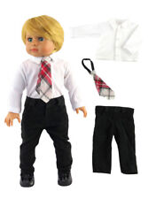 "White Dress Shirt Pants & Tie For 18"" American Girl Boy Logan Doll Clothes"