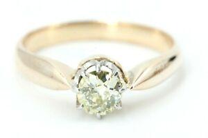 0,55 ct. Diamant Gold Ring 585 Gelbgold 14K 1 Altschliff light yellow VS2 Gr 56