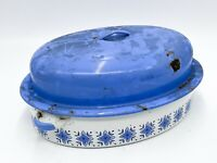 Vintage Enamel Cookware Tureen Oven Dish with Lid White / Blue Retro <D3