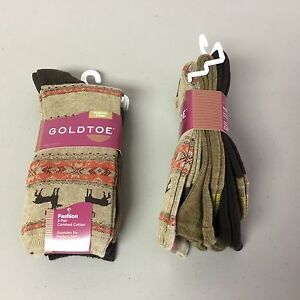 NWT Women's GOLD TOE Cotton Fashion Socks Shoe Size 6-9 Multi 6 Pair #86P