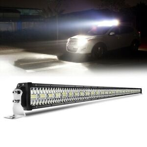 10D Tri-Row 3000W 52Inch Straight LED Light Bar Flood Spot  Driving VS 50''/54''