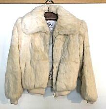 Fashion FUR Jacket SZ S  Natural White Rabbit Rayon Lining  Zipper Closure-ELAN