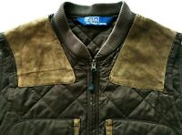 *HOT Men's POLO RALPH LAUREN @ QUILTED HUNTING LEATHER TRIM BROWN VEST JACKET M