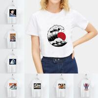 Harajuku Janpan Ukiyoe Print T-shirt O Neck Short Sleeve Casual Tops Blouse Tee
